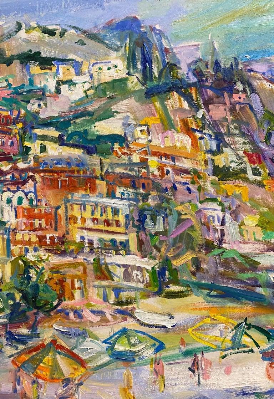 Positano Beach, original 42x51 post impressionist Italian marine landscape - Post-Impressionist Painting by Sonia Grineva