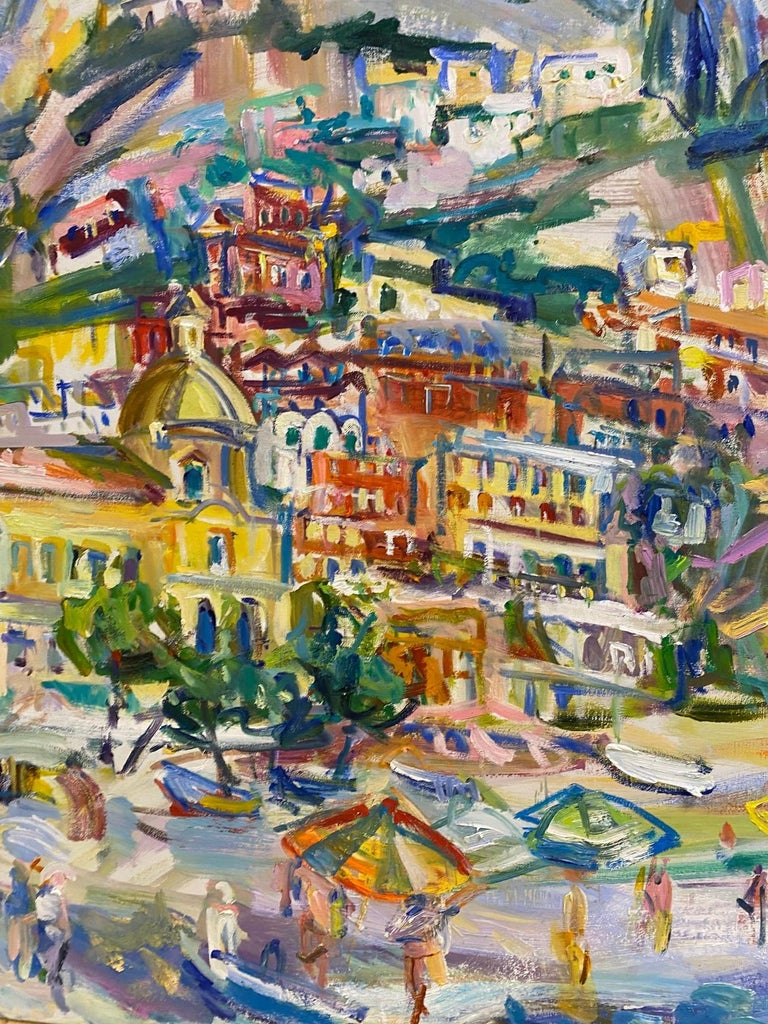 Excitement abounds in this original post impressionist marine landscape of Positano Beach.  The shades of blue of the sea is what legends are made of,  and when paired with the abstract and expressionist elements along the beach and throughout the