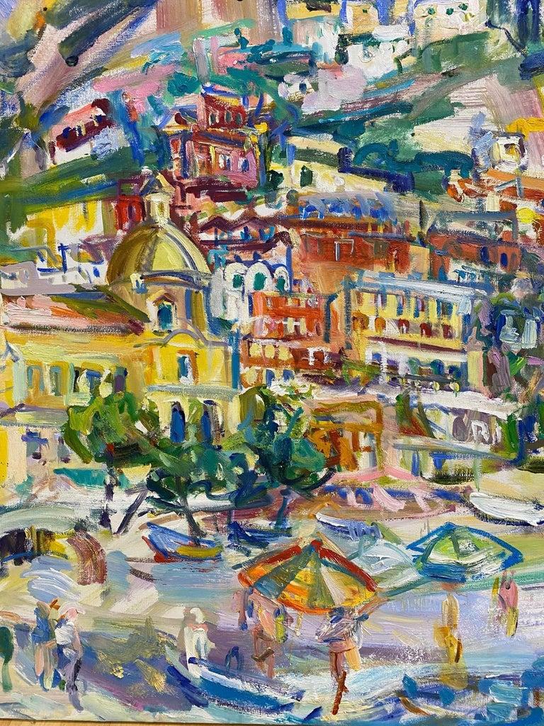 Positano Beach, original 42x51 post impressionist Italian marine landscape For Sale 1