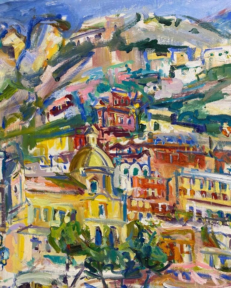Positano Beach, original 42x51 post impressionist Italian marine landscape For Sale 2