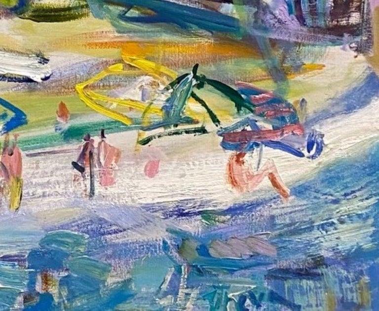 Positano Beach, original 42x51 post impressionist Italian marine landscape For Sale 3