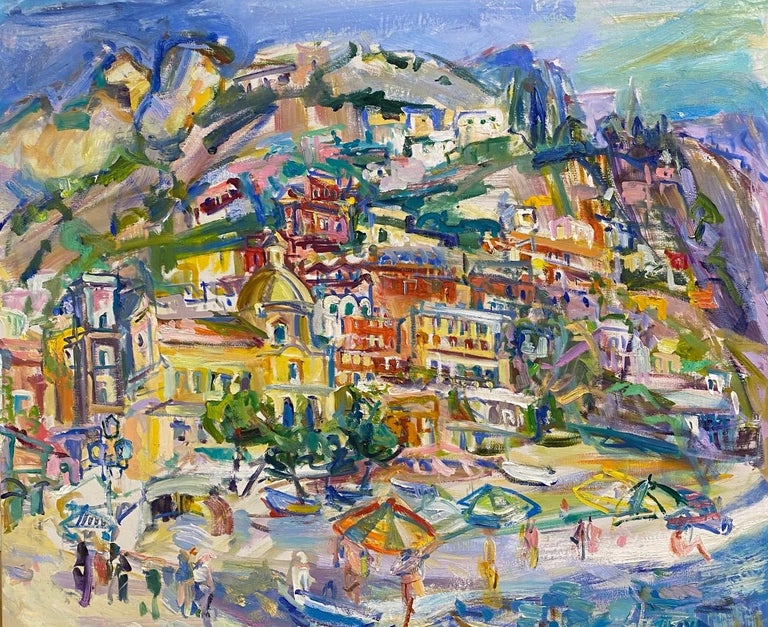 Sonia Grineva Abstract Painting -  Positano Beach, original 42x51 post impressionist Italian marine landscape