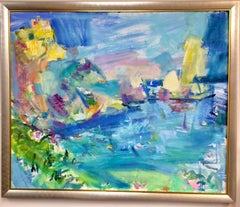 The Magical Island of Capri,  original 40x48 abstract Italian landscape