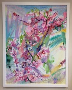 Tree in Bloom, original 52x40 abstract landscape