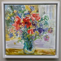 Vase of Flowers, original  impressionist still life oil painting