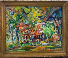 Washington Square Park NW, original 24x30 abstract expressionist NYC landscape