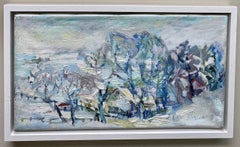 Winter Landscape, original abstract landscape oil painting