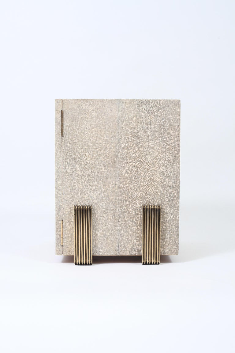 Art Deco Sonia Jewelry Chest in Cream Shagreen, Black Pen Shell and Brass by R&Y Augousti For Sale