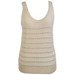 Sonia Rykiel Beige Wool Blend Knit Tank Top with Rhinestones Size 36