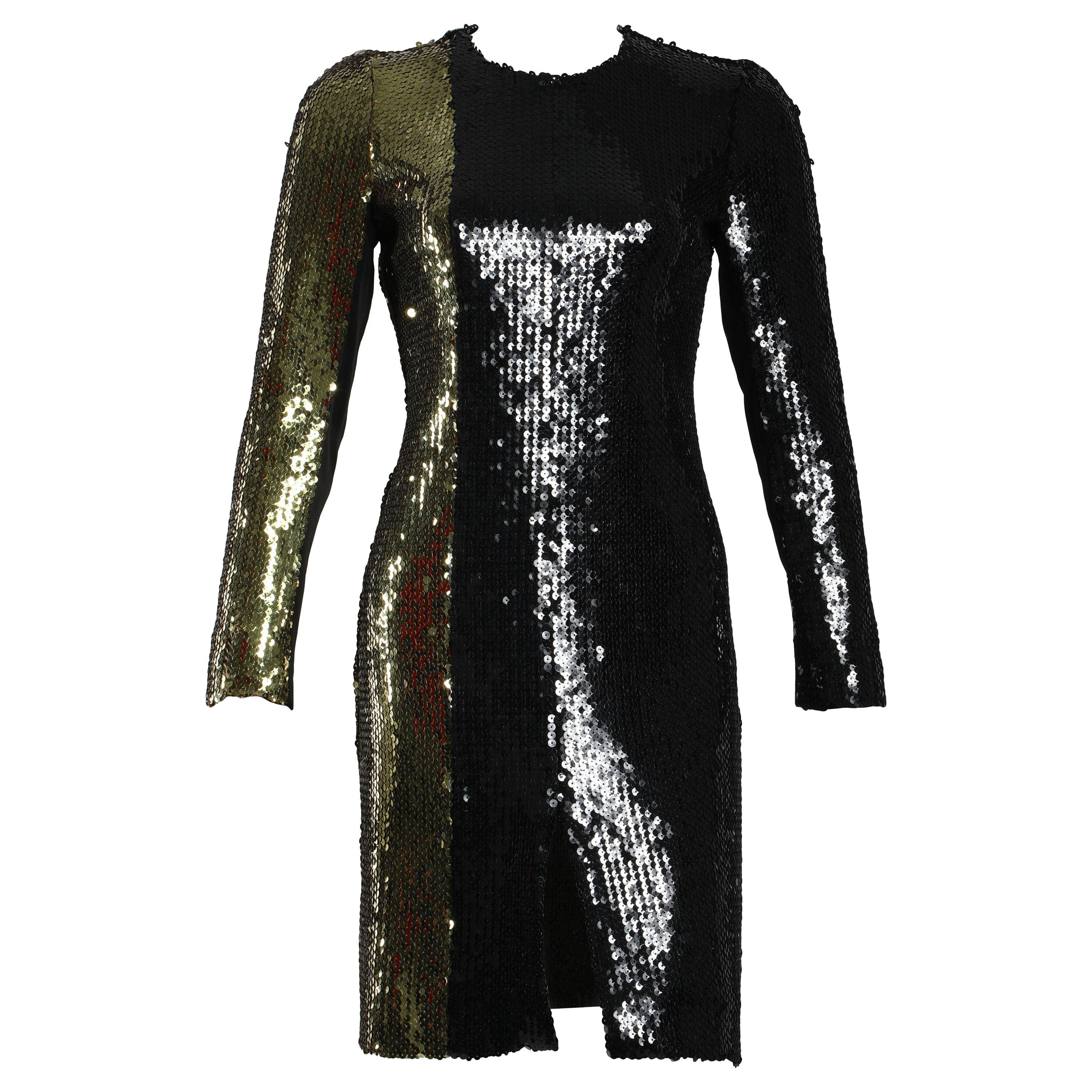 Sonia Rykiel Black and Gold Long Sleeve Sequin Cocktail Dress