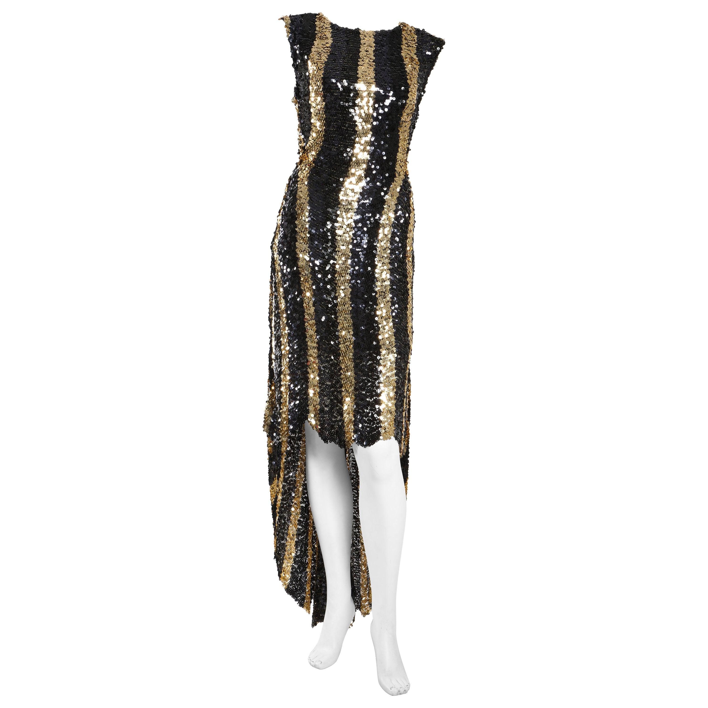 Sonia Rykiel Black and Gold Sequin High Low Stripe Dress