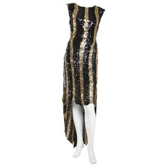 Sonia Rykiel Black and Gold Sequin High Low Stripe Dress
