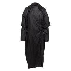Sonia Rykiel Black Coated Cotton Hooded Coat