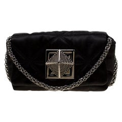 Sonia Rykiel Black Quilted Satin Le Copain Chain Crossbody Bag