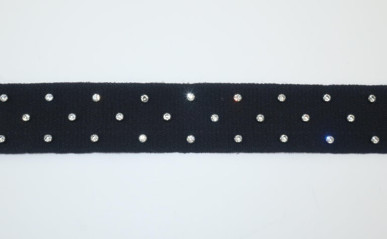 Women's Sonia Rykiel Black Stretch Belt With Rhinestones For Sale
