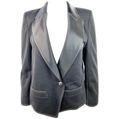 Sonia Rykiel Black Wool Blazer Jacket Size 38