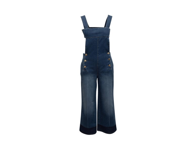 Sonia Rykiel Blue Denim Open Back Overalls In Good Condition In New York, NY