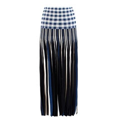 Sonia Rykiel Blue & White Striped Check Maxi Skirt Size M