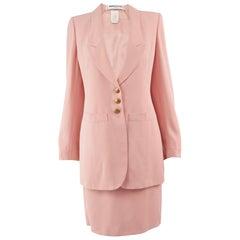 Sonia Rykiel Blush Pink Crepe Vintage Tailored Jacket & Skirt Suit, 1980s