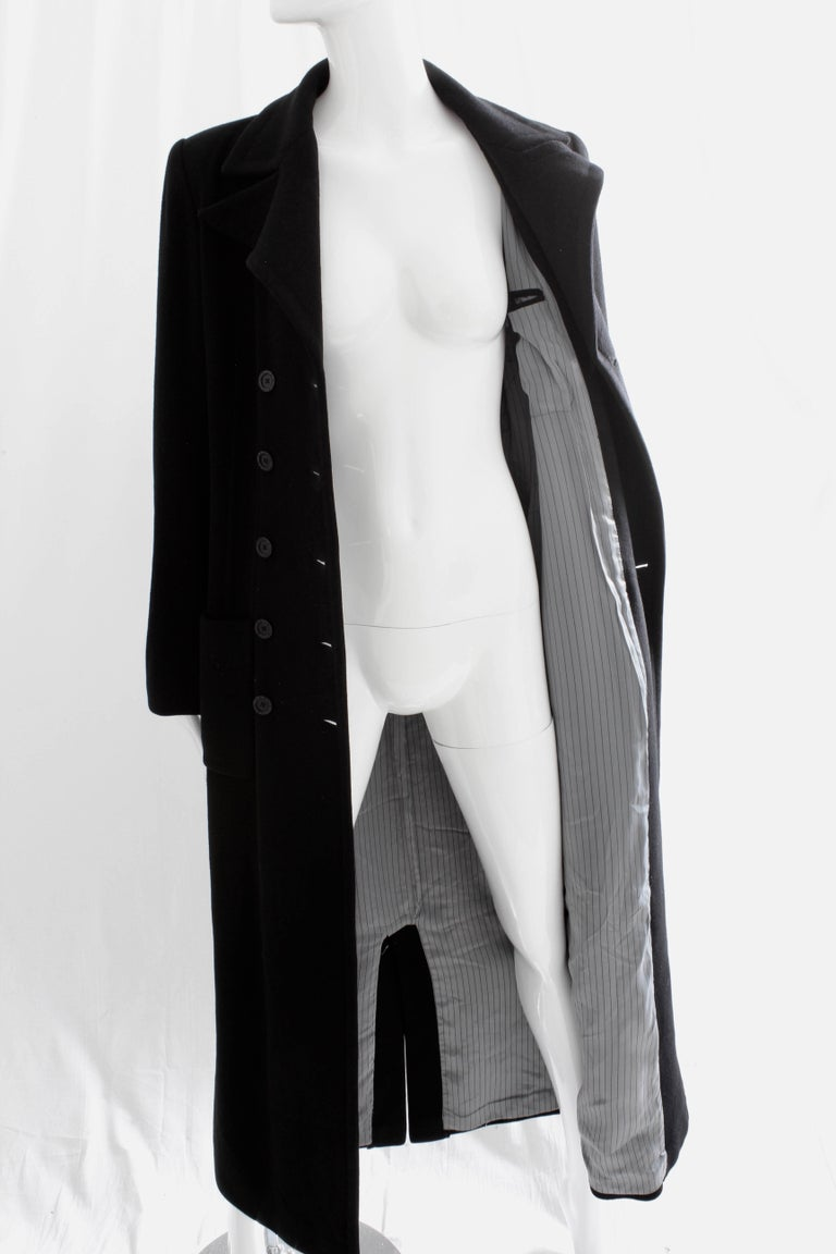 Sonia Rykiel Cashmere Coat Double Breasted Black Long Trench Style Sz 38 For Sale 6