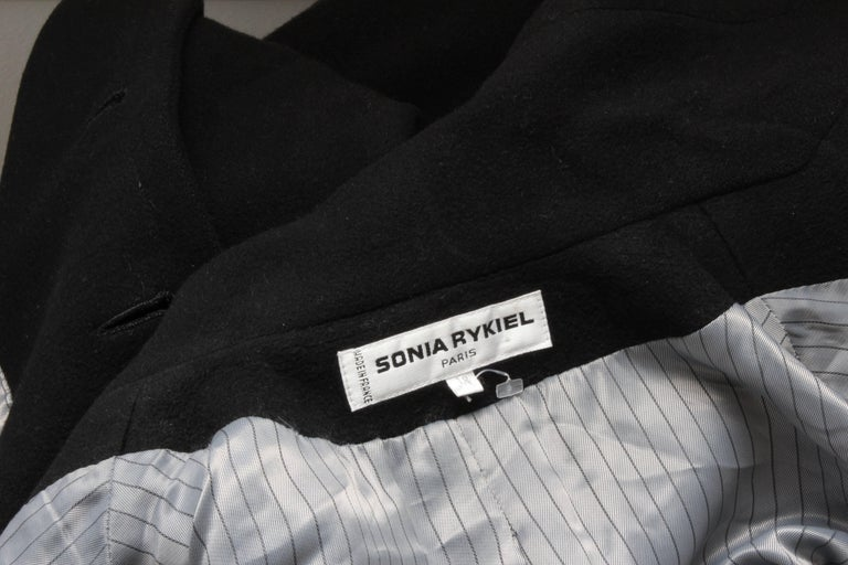 Sonia Rykiel Cashmere Coat Double Breasted Black Long Trench Style Sz 38 For Sale 7