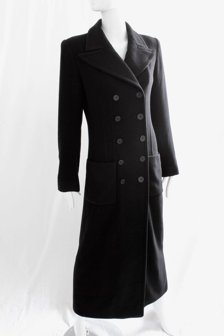 Sonia Rykiel Cashmere Coat Double Breasted Black Long Trench Style Sz 38 In Good Condition For Sale In Port Saint Lucie, FL