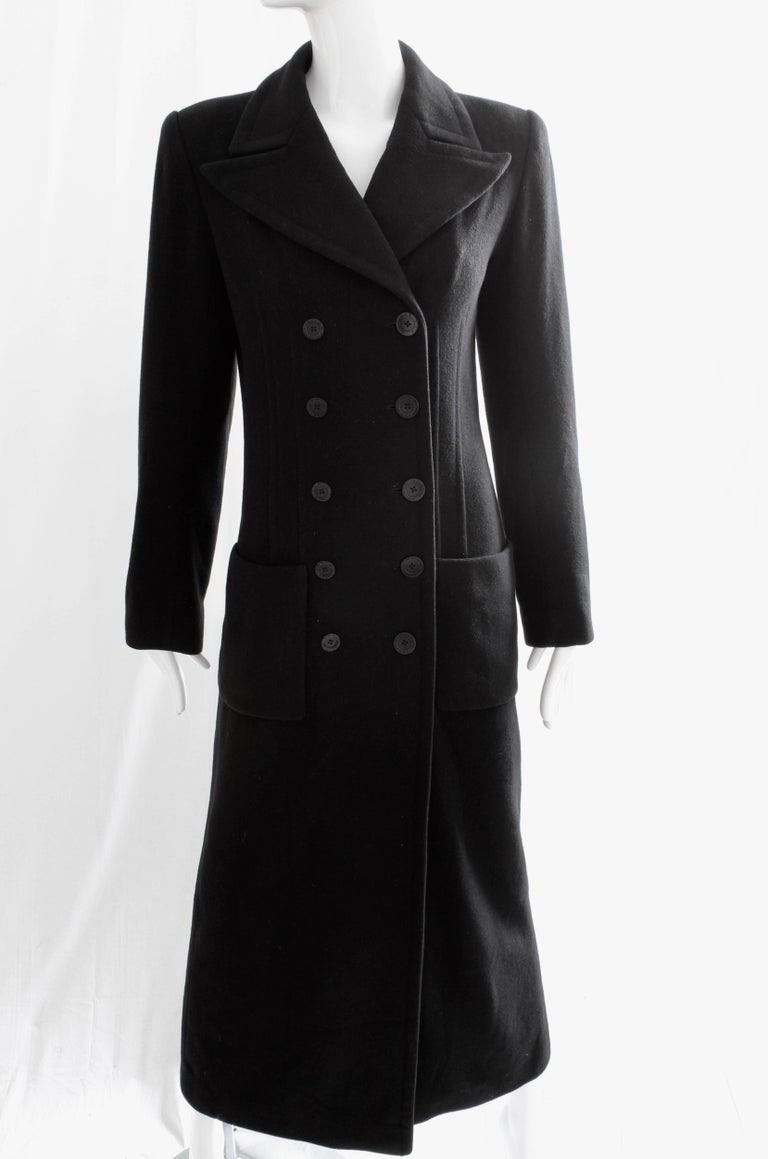 Women's Sonia Rykiel Cashmere Coat Double Breasted Black Long Trench Style Sz 38 For Sale