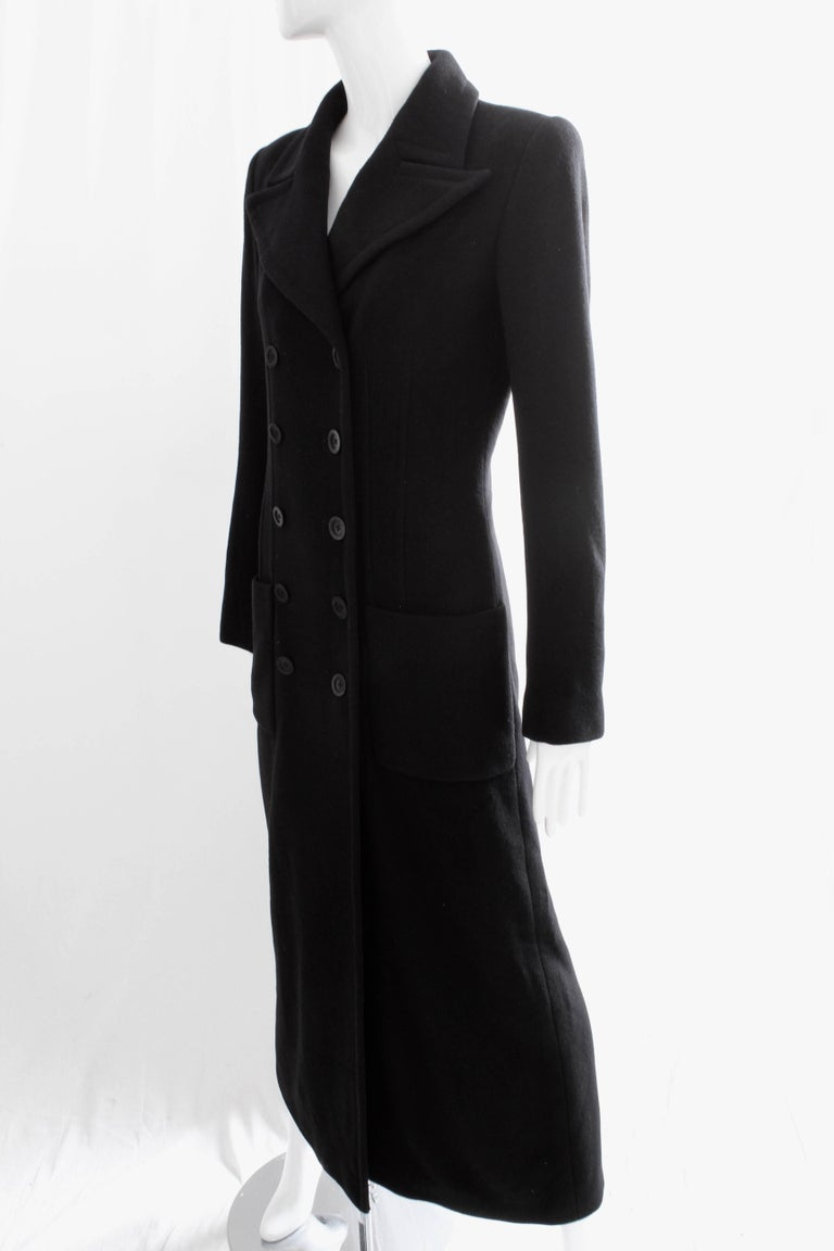 Sonia Rykiel Cashmere Coat Double Breasted Black Long Trench Style Sz 38 For Sale 1