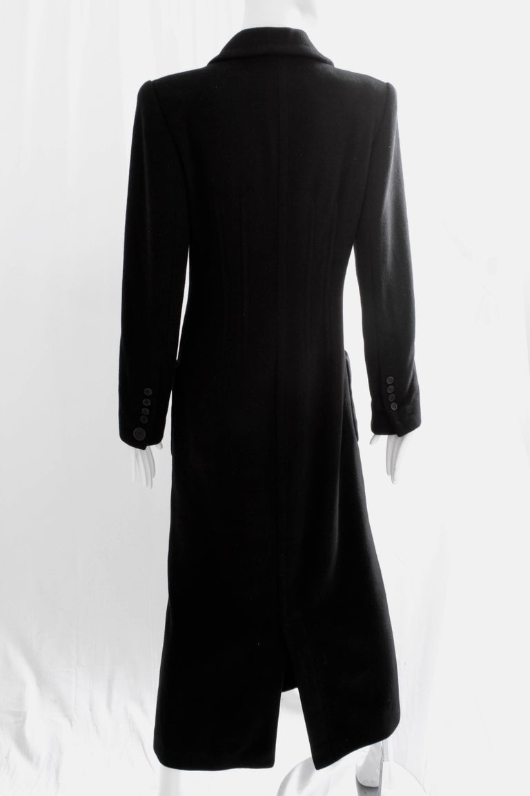 Sonia Rykiel Cashmere Coat Double Breasted Black Long Trench Style Sz 38 For Sale 2