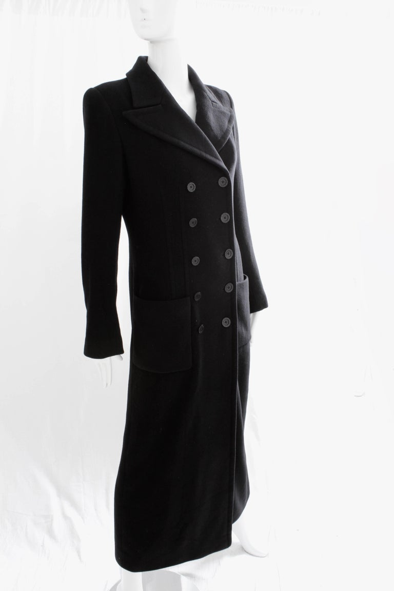 Sonia Rykiel Cashmere Coat Double Breasted Black Long Trench Style Sz 38 For Sale 3