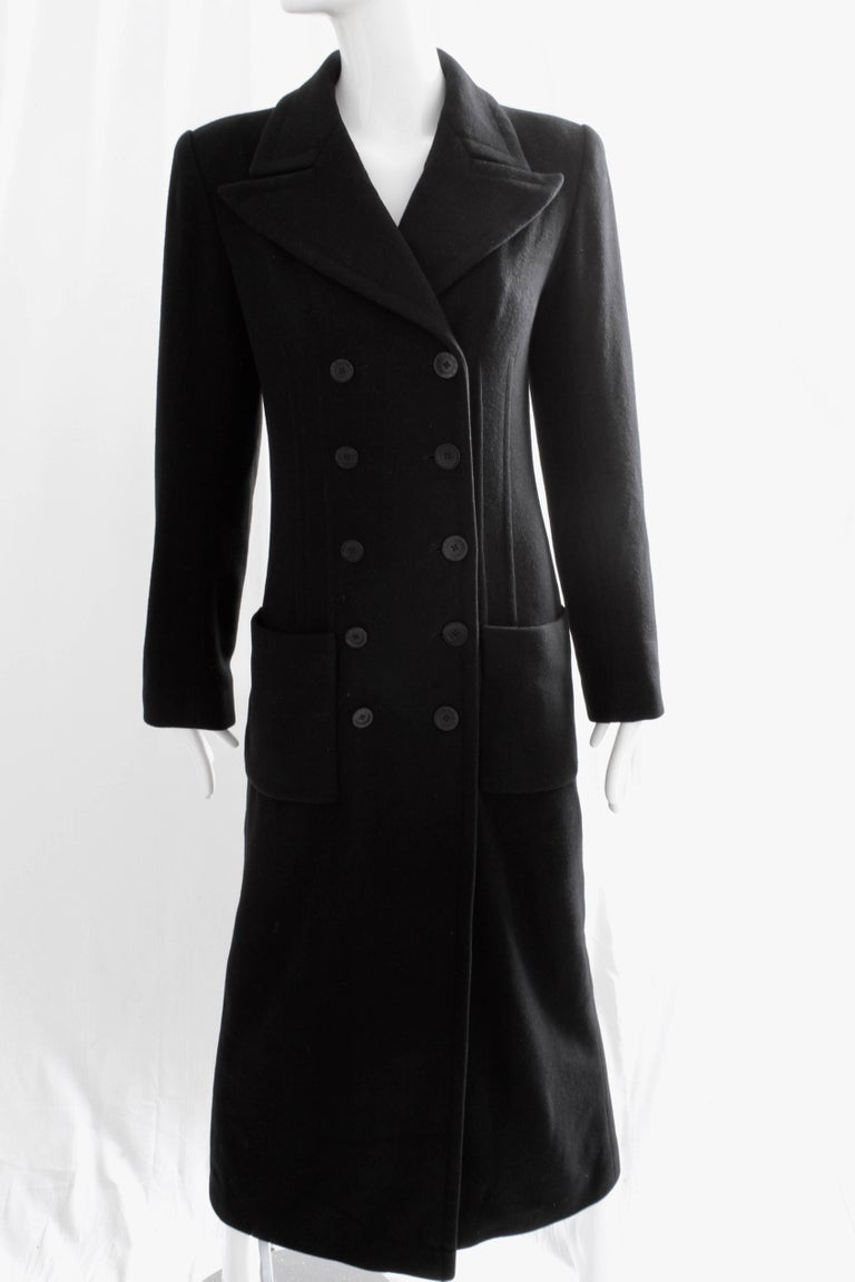 Sonia Rykiel Cashmere Coat Double Breasted Black Long Trench Style Sz 38 For Sale 4