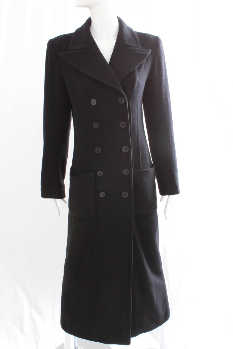 Sonia Rykiel Cashmere Coat Double Breasted Black Long Trench Style Sz 38 For Sale 5