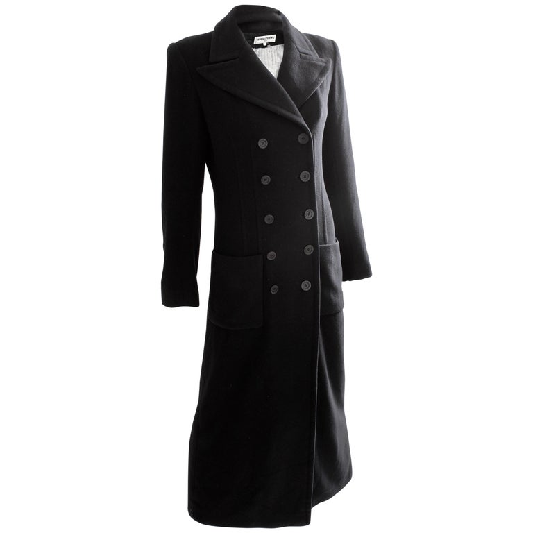 Sonia Rykiel Cashmere Coat Double Breasted Black Long Trench Style Sz 38 For Sale