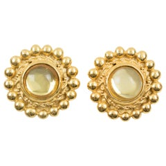 Sonia Rykiel Clip Earrings Yellow Resin Cabochon