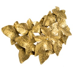 Sonia Rykiel Gilt Metal Leaves Pin Brooch