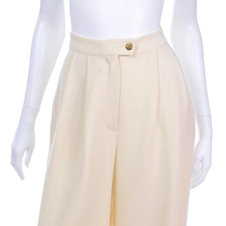 Sonia Rykiel Ivory Trouser Suit W Longline Blazer Jacket & High Waisted Pants For Sale 5