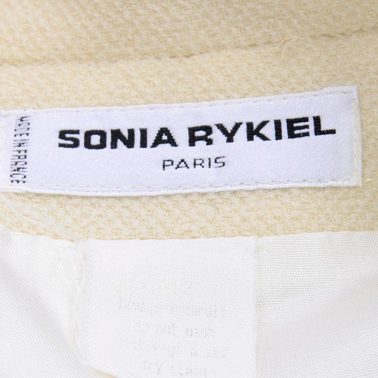 Sonia Rykiel Ivory Trouser Suit W Longline Blazer Jacket & High Waisted Pants For Sale 8