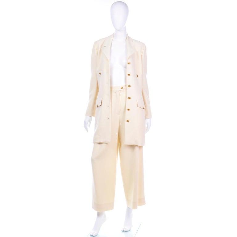Beige Sonia Rykiel Ivory Trouser Suit W Longline Blazer Jacket & High Waisted Pants For Sale