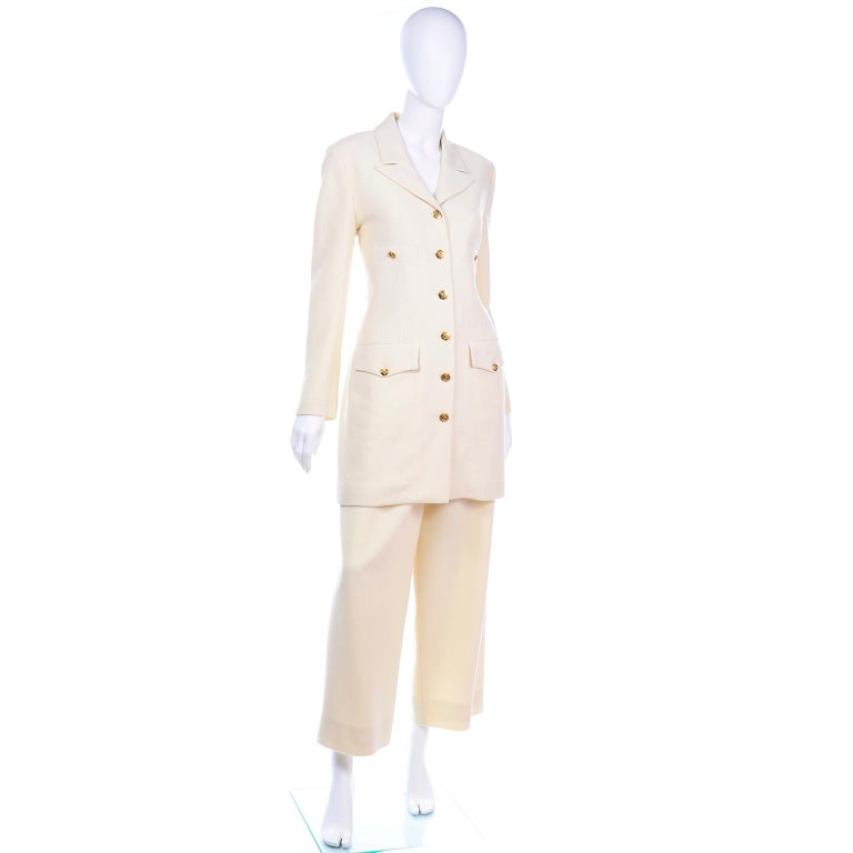 Sonia Rykiel Ivory Trouser Suit W Longline Blazer Jacket & High Waisted Pants In Excellent Condition For Sale In Portland, OR
