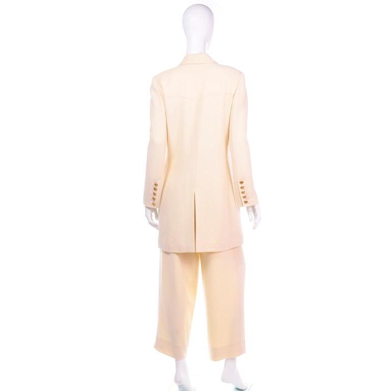 Women's Sonia Rykiel Ivory Trouser Suit W Longline Blazer Jacket & High Waisted Pants For Sale