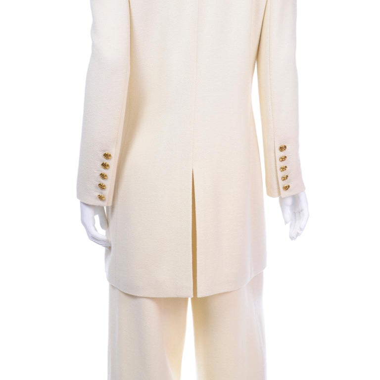 Sonia Rykiel Ivory Trouser Suit W Longline Blazer Jacket & High Waisted Pants For Sale 1