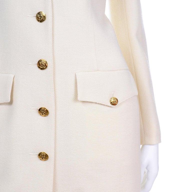 Sonia Rykiel Ivory Trouser Suit W Longline Blazer Jacket & High Waisted Pants For Sale 2