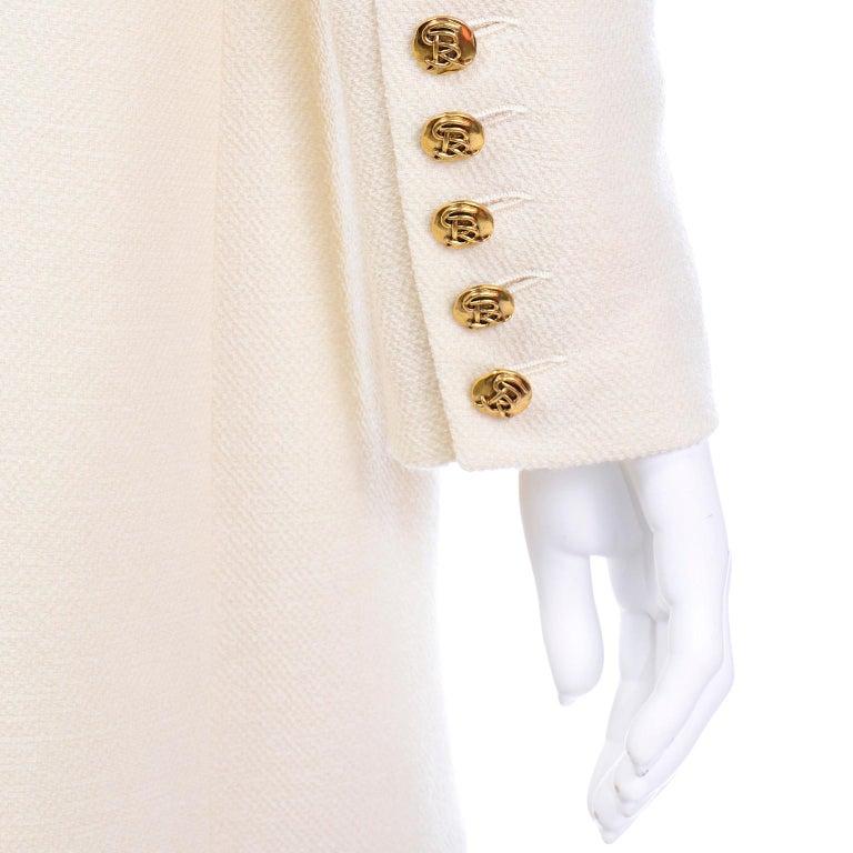 Sonia Rykiel Ivory Trouser Suit W Longline Blazer Jacket & High Waisted Pants For Sale 3