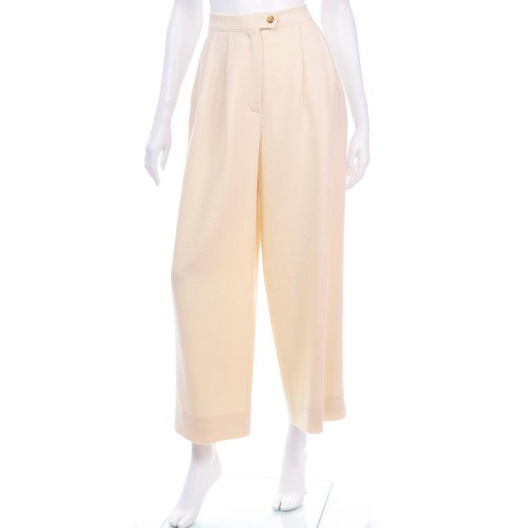 Sonia Rykiel Ivory Trouser Suit W Longline Blazer Jacket & High Waisted Pants For Sale 4