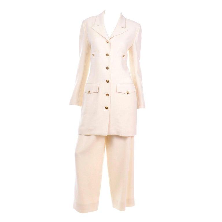 Sonia Rykiel Ivory Trouser Suit W Longline Blazer Jacket & High Waisted Pants For Sale