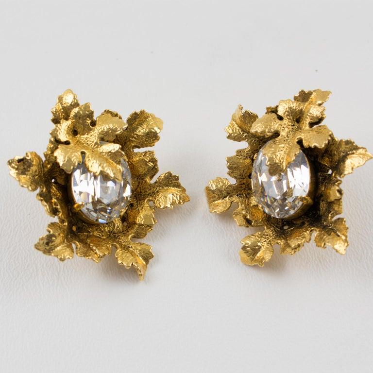 Modern Sonia Rykiel Jeweled Leaves Clip Earrings For Sale