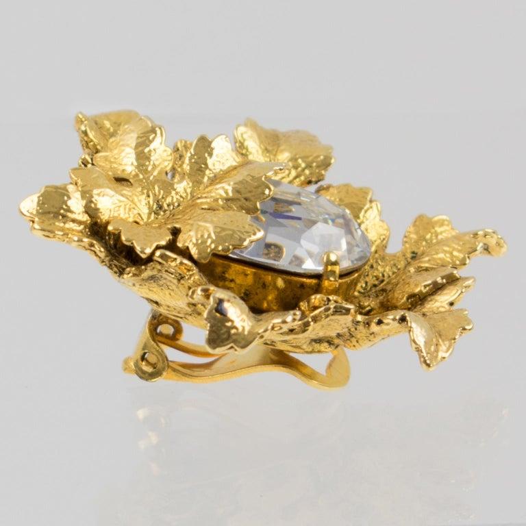 Sonia Rykiel Jeweled Leaves Clip Earrings For Sale 1