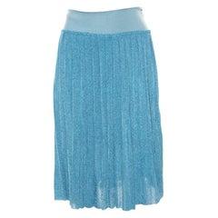 Sonia Rykiel Metallic Blue Ribbed Waist Pleated Midi Skirt S
