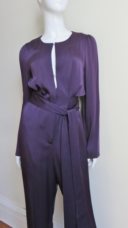 Purple Sonia Rykiel New Silk Jumpsuit For Sale