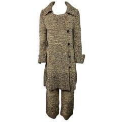 Sonia Rykiel Paris Brown and Black Knit Sweater Cardigan and Pants Set